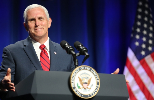 Vice President Mike Pence gestures as he speaks during the National Catholic Prayer Breakfast June 6 in Washington. (CNS/Bob Roller)