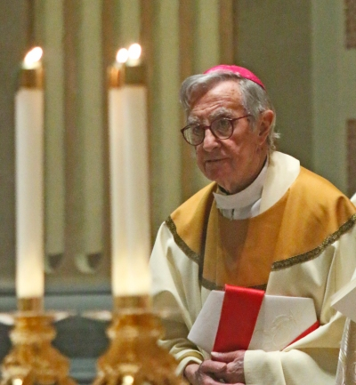 Retired Auxiliary Bishop Louis A. DeSimone of Philadelphia concelebrates the annual chrism Mass April 13 at the Cathedral Basilica of SS. Peter and Paul in Philadelphia. (CNS/Sarah Webb, CatholicPhilly)