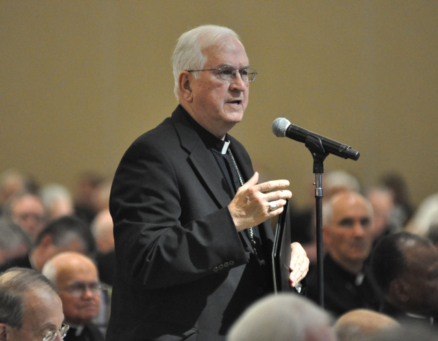Archbishop Joseph E. Kurtz of Louisville, Ky., former president of the U.S. Conference of Catholic Bishops, speaks June 14 during the USCCB's annual spring assembly in Indianapolis. (CNS/Sean Gallagher, The Criterion)