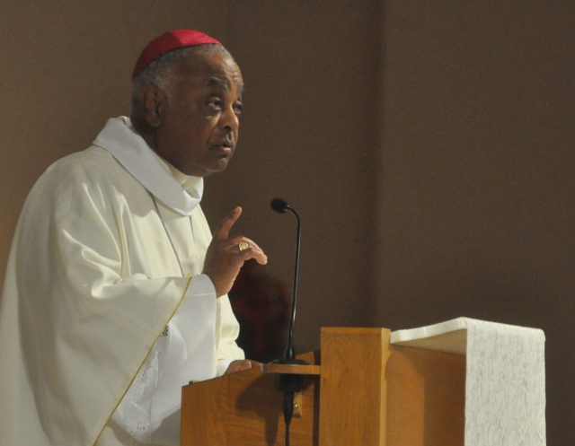 Atlanta Archbishop Wilton D. Gregory delivers the homily during Mass June 14 at SS. Peter and Paul Cathedral in Indianapolis during the U.S. Conference of Catholic Bishops' annual spring assembly. (CNS photo/Sean Gallagher, The Criterion)