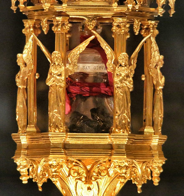 A reliquary holding a glass jar containing a relic of St. John Bosco is shown in this file photo. The relic, a piece of the saint's brain, was stolen June 2 from the Basilica of St. John Bosco in Castelnuovo Don Bosco, Italy, and recovered June 15 by police. (CNS/courtesy of Salesians and Andrea Cherchi)