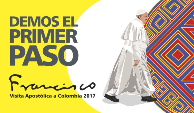 "Official logo for Pope Francis' Sept. 6-10 trip to Colombia with the theme ""Let's Take the First Step."" (CNS)"