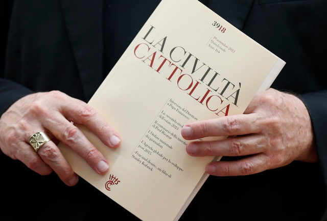 An issue of the Italian journal La Civilta Cattolica is seen at the Vatican in this 2013 file photo. (CNS/Paul Haring)