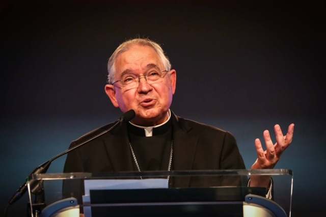 Archbishop Jose H. Gomez of Los Angeles, who is vice president of the U.S. Conference of Catholic Bishops, speaks during the July 27 opening of the seventh annual Napa Institute Conference in California. (CNS/courtesy Visual Grace)