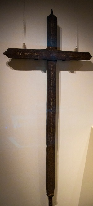 A cross believed to be made from iron taken from the Ark and the Dove, a ship that brought the first English Catholics to Maryland in 1634, is pictured in an exhibit room at the Smithsonian Institution's National Museum of American History in Washington. (CNS/Chaz Muth)