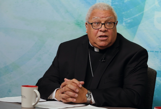 Bishop George V. Murry of Youngstown, Ohio, speaks during a video news conference Aug. 23 at the U.S. Conference of Catholic Bishops' headquarters in Washington. (CNS/Bob Roller)