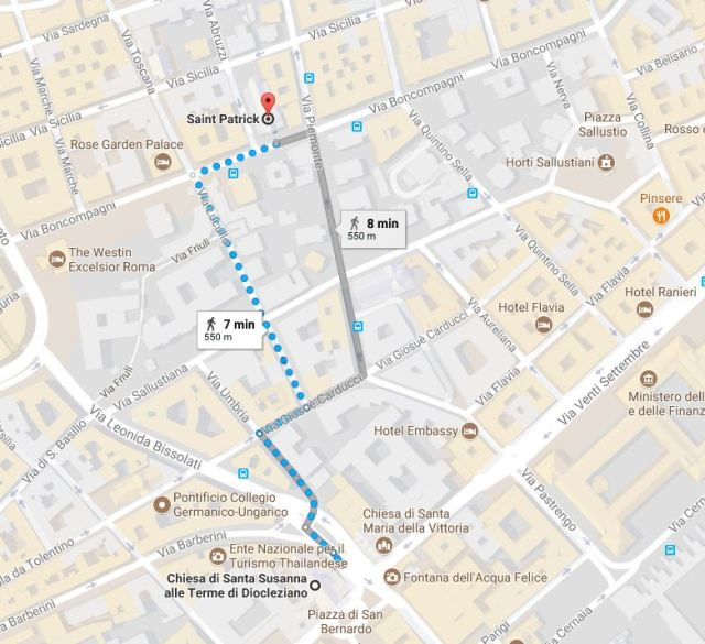 The new home for the American community in Rome, St. Patrick Church, is just a short walk from the Church of Santa Susanna, which had been the home parish away from home for Americans. (Google Maps)