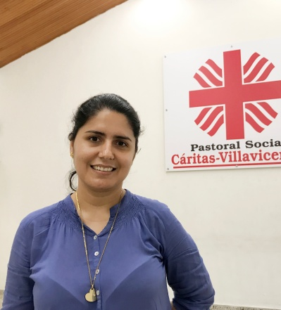 Jeydi Gonzalez, social ministry director in the Archdiocese of Villavicencio, Colombia, poses for a photo Sept. 5. She will speak during Pope Francis' visit Sept. 8 about Colombia's armed conflict and reconciliation. (CNS/David Agren)