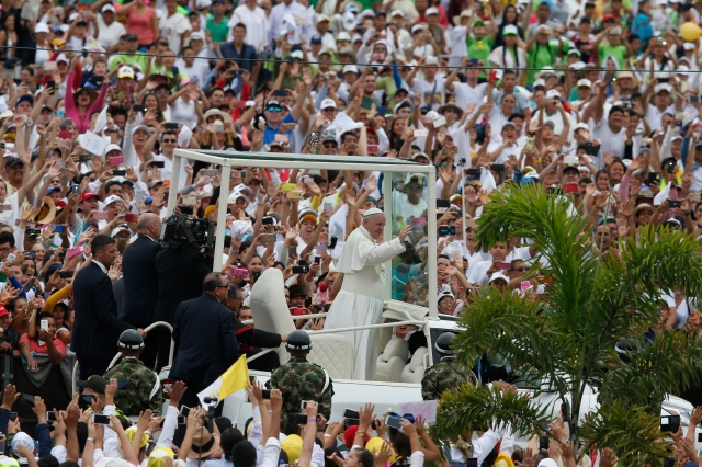 Pope Francis waves to people upon entering Catama field in Villavicencio, Colombia, Sept. 8. (CNS/Paul Haring)