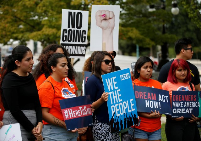 Young immigration activists and those enrolled in the Deferred Action for Childhood Arrivals program take part in a rally Sept. 12 in Washington to urge Congress to pass the DREAM Act. (CNS/Reuters)