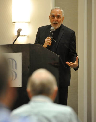 Bishop Gerald F. Kicanas of Tucson, Ariz., addresses the Louisiana Priests' Convention in New Orleans. (CNS/Peter Finney Jr., Clarion Herald)