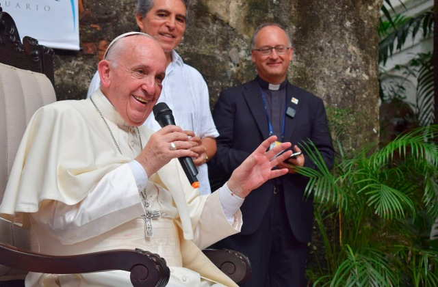 "Pope Francis speaks during a meeting with Jesuits and laypeople associated with Jesuit institutions in Cartagena, Colombia, Sept. 10. While replying to questions, the pope said that seeking to understand people's real lives does not ""bastardize"" theology. (CNS/courtesy La Civilta Cattolica)"