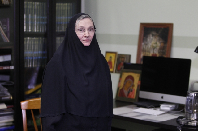 Mother Cornelia Rees, an American nun working in Russia, is pictured in her office in the Sretensky Monastery in downtown Moscow May 25. Mother Rees said that while church attendance on Sundays may be low in Russia, the numbers may be partly explained by the demanding nature of Russian Orthodoxy compared to Western forms of Christianity. (CNS/Robert Duncan)