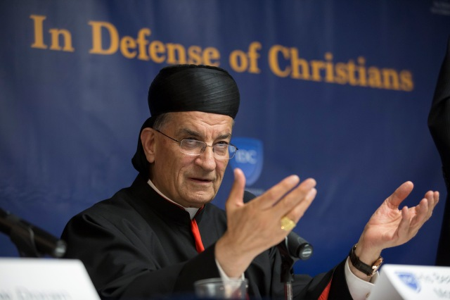 Lebanese Cardinal Bechara Rai, Maronite patriarch, speaks at a news conference at the National Press Club in Washington Oct. 24, the opening day of an annual three-day In Defense of Christians Summit. (CNS/Jaclyn Lippelmann, Catholic Standard)
