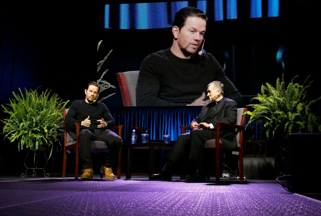 Actor Mark Wahlberg and and Cardinal Blase J. Cupich of Chicago discuss faith and the life of young adults during the Archdiocese of Chicago's first (re)Encounter event. (CNS/Karen Callaway, Chicago Catholic)