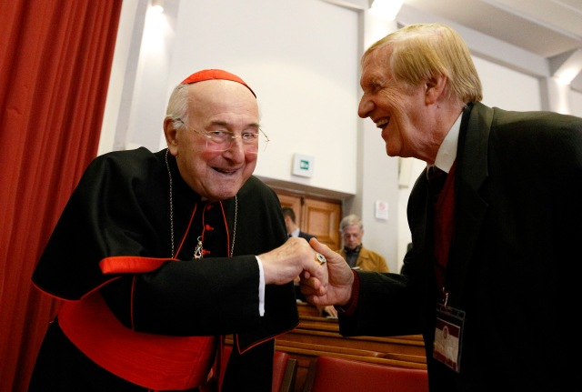 "German Cardinal Walter Brandmuller greets Professor Josef Seifert at a conference on Blessed Paul VI's 1968 encyclical, ""Humanae Vitae,"" in Rome Oct. 28. The conference was organized by Voice of the Family, a coalition of pro-life and pro-family groups. (CNS/Paul Haring)"