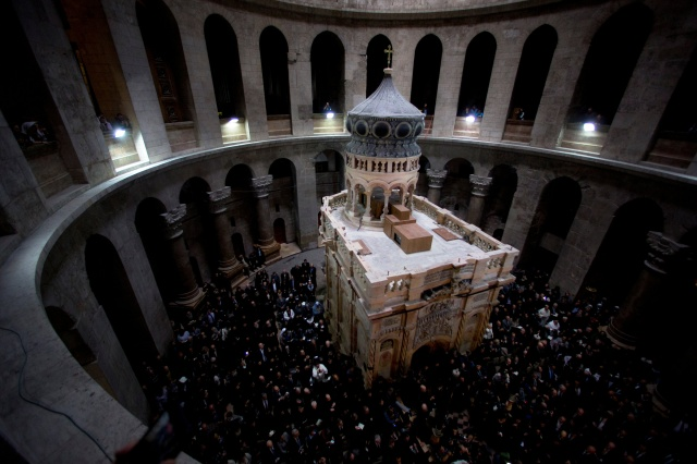 The restored Edicule at the Church of the Holy Sepulcher is seen during a ceremony marking the end of restoration work on the site of Jesus's tomb last March. (CNS/Reuters)
