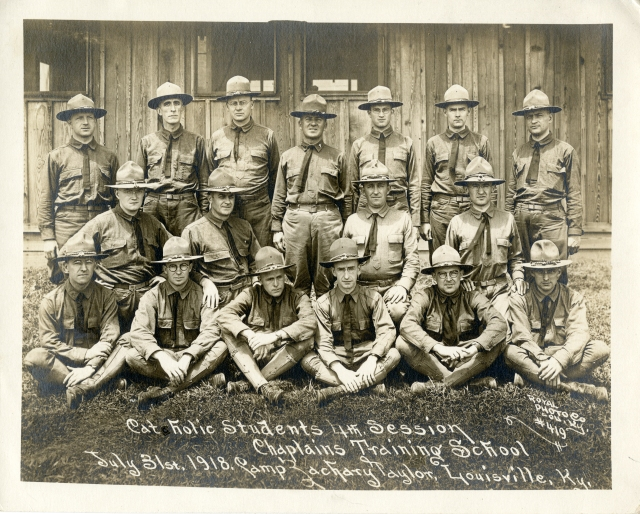 Catholic chaplains are seen in a 1918 photo at camp Zachary Taylor in Louisville, Ky. (CNS/courtesy The Catholic University of America Archives)