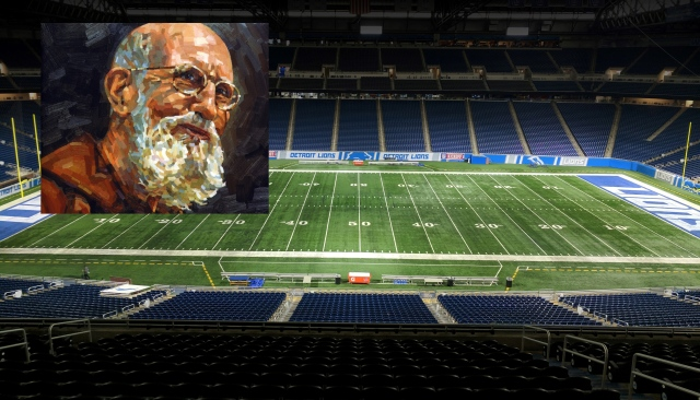 An image of Capuchin Franciscan Father Solanus Casey is superimposed over Ford Field in Detroit where 66,000 Catholics will gather to celebrate his beatification Nov. 18. (CNS illustration/Michigan Catholic)