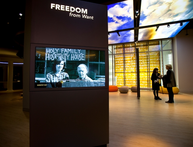 "A touch monitor about Dorothy Day and ""Freedom From Want"" is seen inside the ""Bible in the World"" exhibit at the Museum of the Bible in Washington. Day, a candidate for sainthood, co-founded the Catholic Worker Movement and its newspaper. (CNS/Tyler Orsburn)"