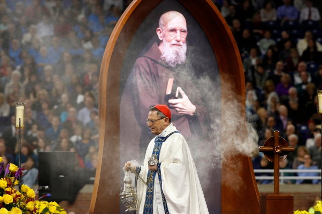 Cardinal Angelo Amato, prefect of the Congregation for Saints' Causes, concelebrates the beatification Mass of Blessed Solanus Casey Nov. 18 at Ford Field in Detroit. At least 60,000 attended the beatification of the Capuchin Franciscan friar. (CNS photo/Jeff Kowalsky, courtesy Michigan Catholic)