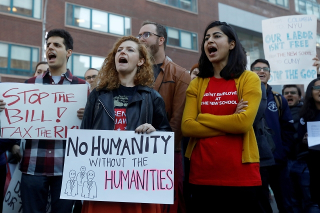 Graduate students rally against the proposed federal tax reform bill Nov. 29 in New York City. (CNS/Reuters)