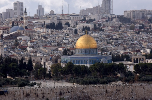 The gold-covered Dome of the Rock at the Temple Mount complex is seen in this overview of Jerusalem's Old City Dec. 6. (CNS/Debbie Hill)