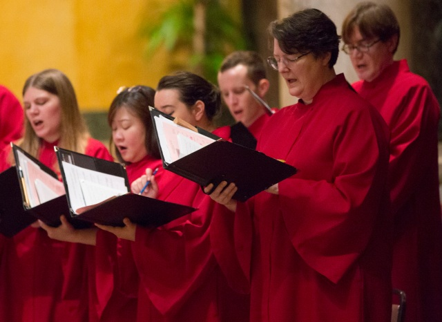Members of the Schola Cantorum sing Gregorian chant during an Oct. 8 Latin Mass at the Cathedral of St. Matthew the Apostle in Washington. Gregorian chant is the singing of the liturgy and its texts are almost entirely scriptural. (CNS/Chaz Muth)