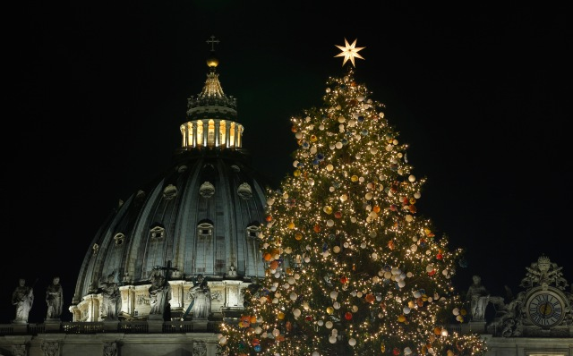 The Christmas tree is seen after a lighting ceremony in St. Peter's Square at the Vatican Dec. 7. (CNS/Paul Haring)