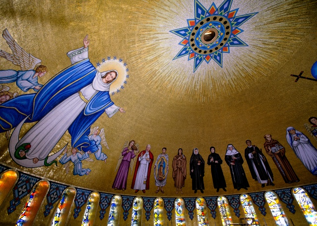 Mosaic tiles depicting the Immaculate Conception and various saints are seen in the Trinity Dome at the Basilica of the National Shrine of the Immaculate Conception in Washington. (CNS/Tyler Orsburn)